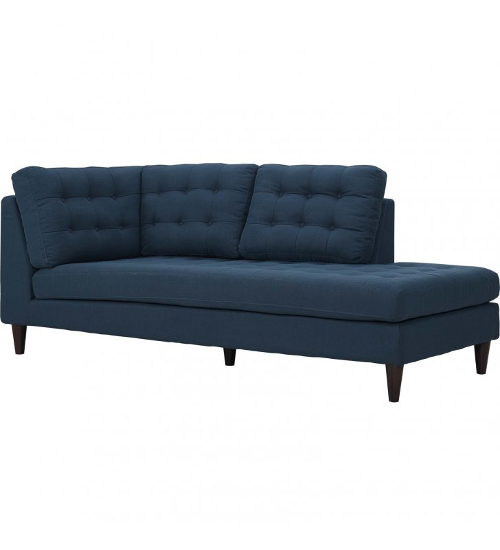 Empress Upholstered Fabric Right Facing Bumper in Azure - Lexmod