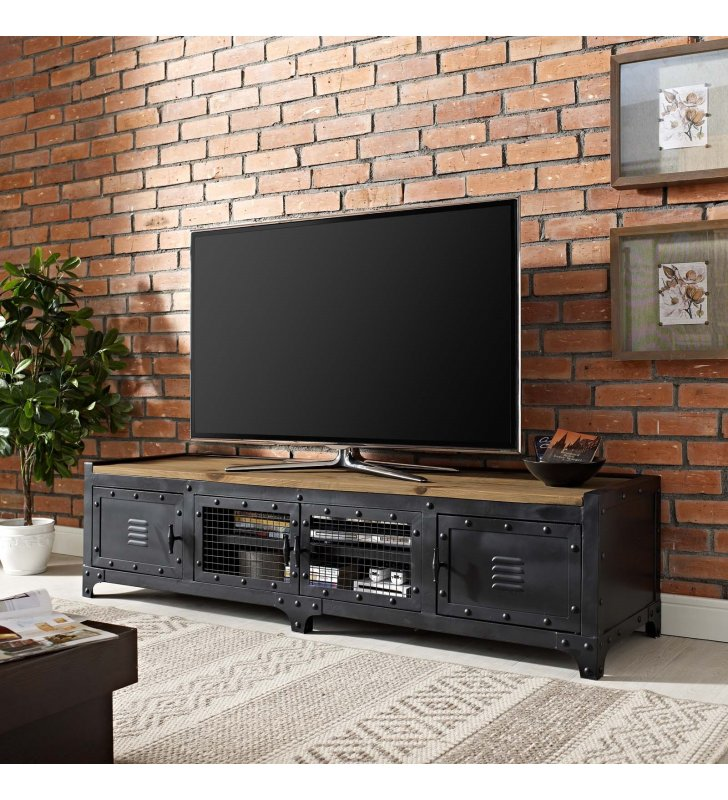 """Dungeon 63"""" TV Stand in Black - Lexmod"""