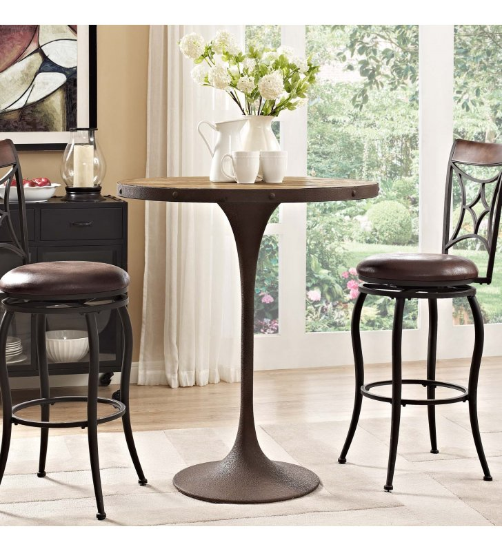 Drive Wood Bar Table in Brown - Lexmod
