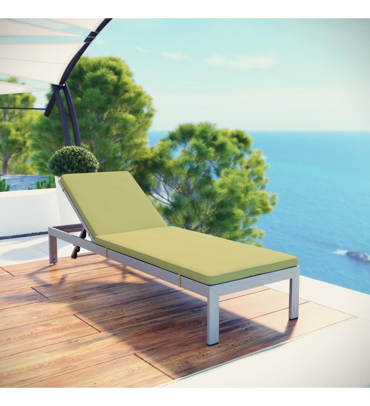 Shore Outdoor Patio Aluminum Chaise with Cushions in Silver Peridot - Lexmod