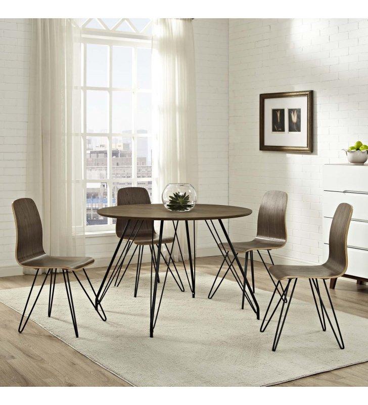 Satellite Circular Dining Table in Walnut - Lexmod