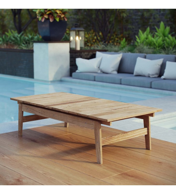 Bayport Outdoor Patio Teak Coffee Table in Natural - Lexmod