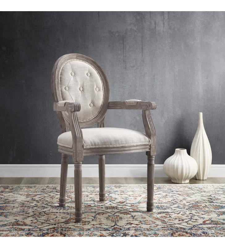 Arise Vintage French Dining Armchair in Beige - Lexmod