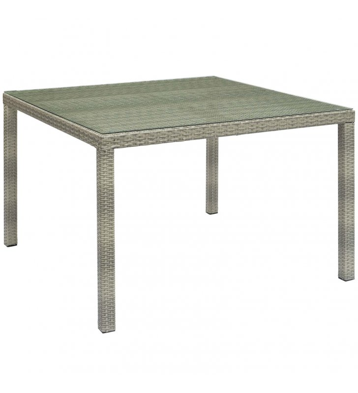 """Conduit 47"""" Square Outdoor Patio Wicker Rattan Table in Light Gray - Lexmod"""