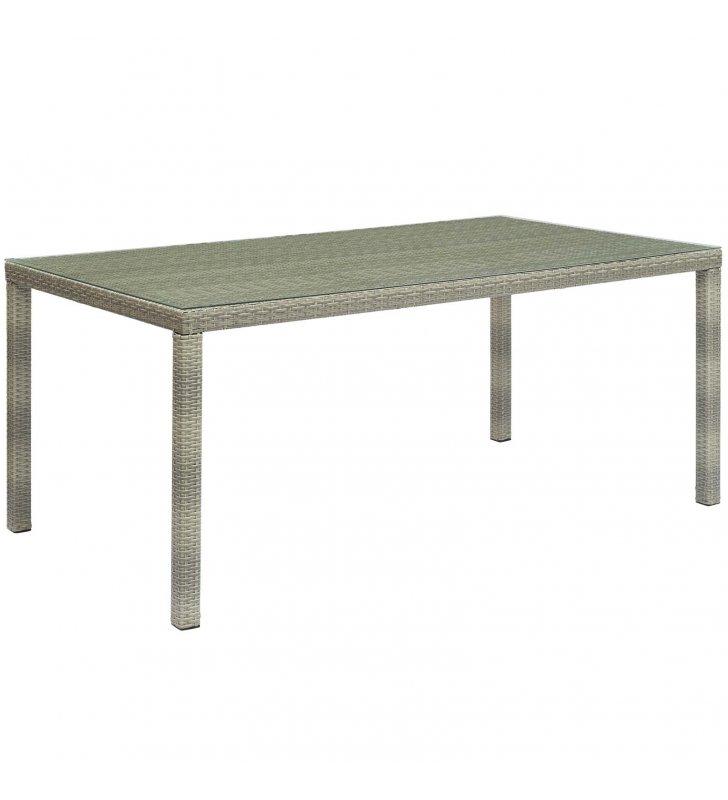 "Conduit 70"" Outdoor Patio Wicker Rattan Dining Table in Light Gray - Lexmod"