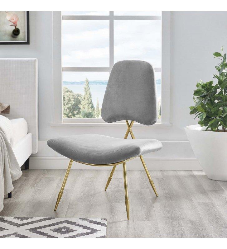Ponder Performance Velvet Lounge Chair in Gray - Lexmod