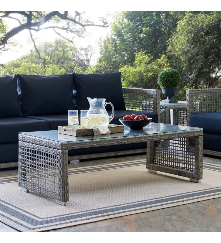 Aura Rattan Outdoor Patio Coffee Table in Gray - Lexmod