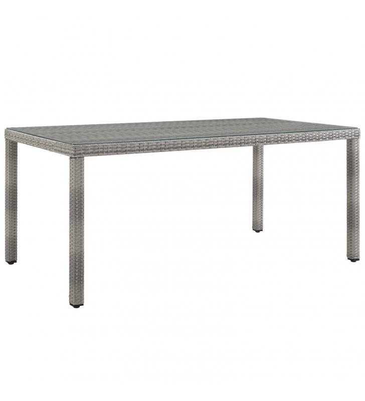"""Aura 68"""" Outdoor Patio Wicker Rattan Dining Table in Gray - Lexmod"""
