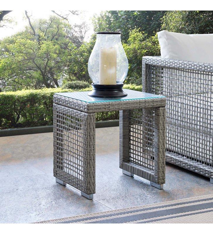 Aura Outdoor Patio Wicker Rattan Side Table in Gray - Lexmod