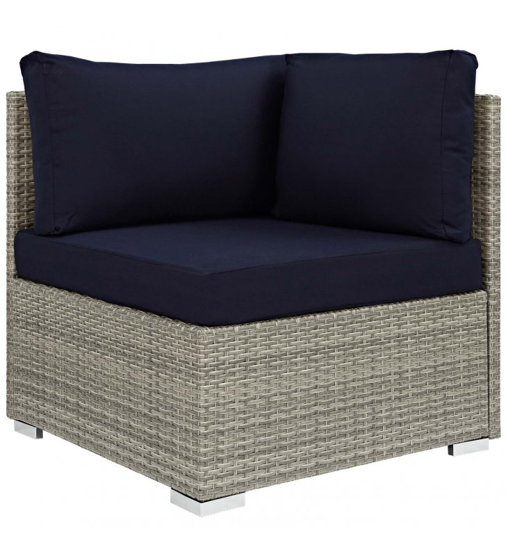 Repose Sunbrella Fabric Outdoor Patio Corner in Light Gray Navy - Lexmod