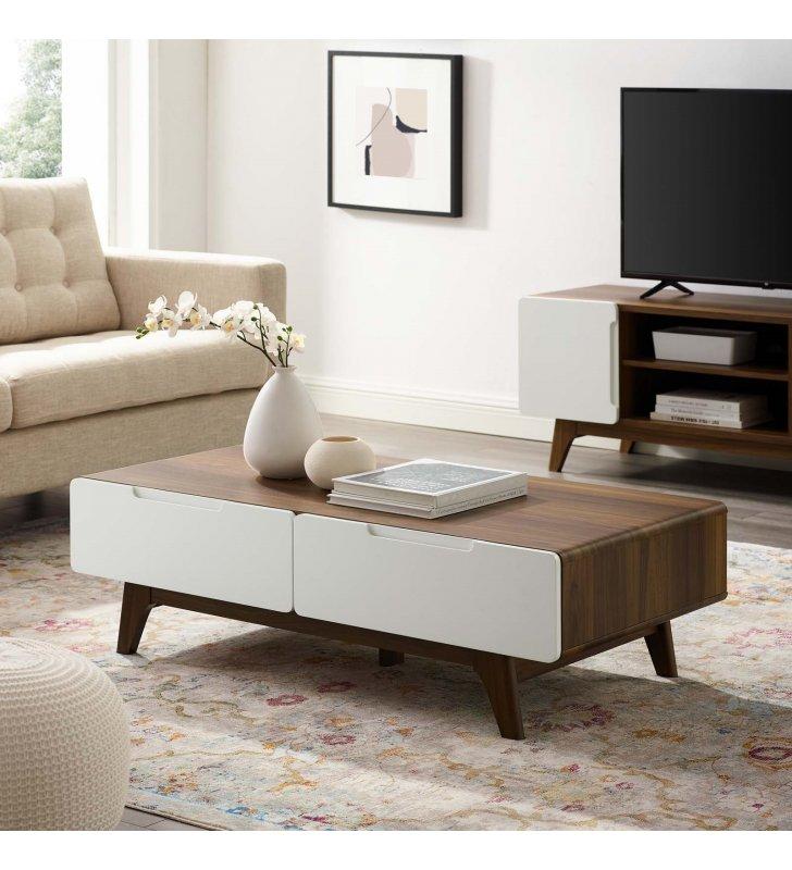 "Origin 47"" Coffee Table in Walnut White - Lexmod"
