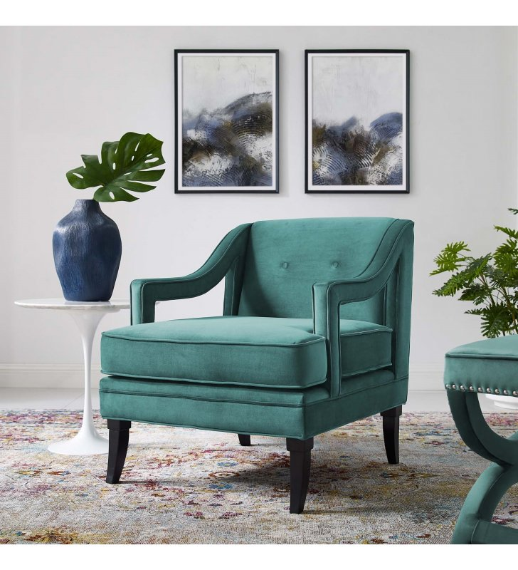 Concur Button Tufted Performance Velvet Armchair in Teal - Lexmod