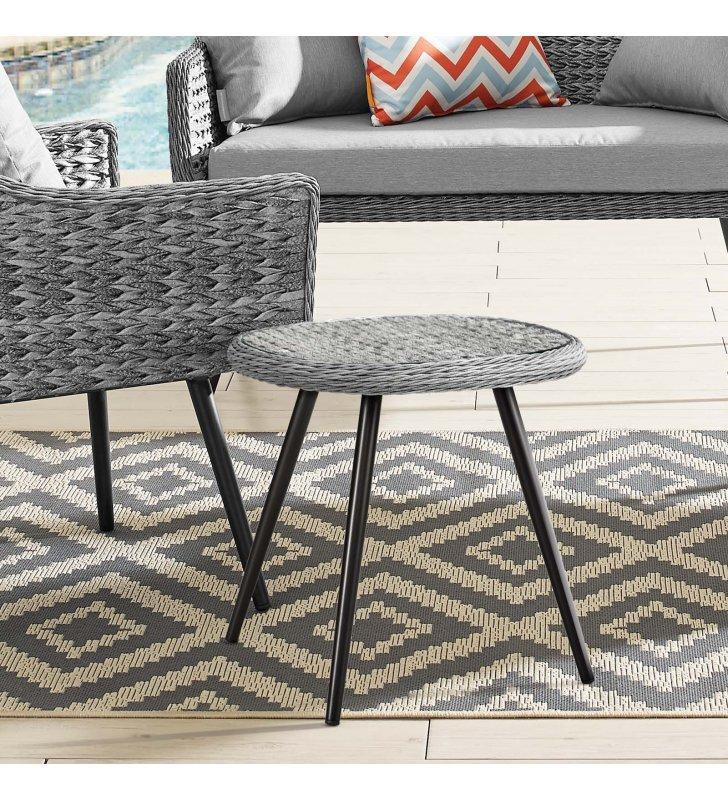 Endeavor Outdoor Patio Wicker Rattan Side Table in Gray - Lexmod