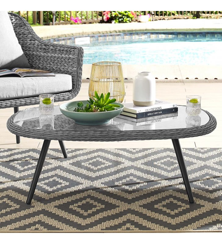 Endeavor Outdoor Patio Wicker Rattan Coffee Table in Gray - Lexmod