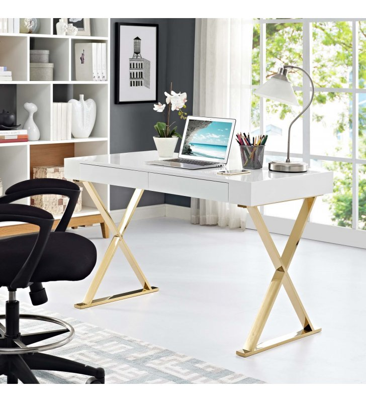 Sector Office Desk in White Gold - Lexmod