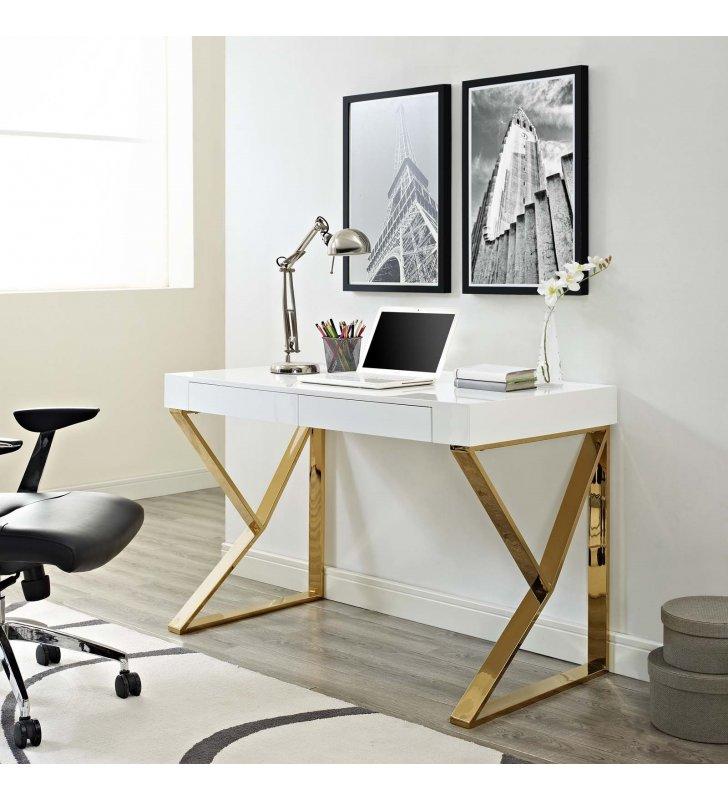 Adjacent Desk in White Gold - Lexmod