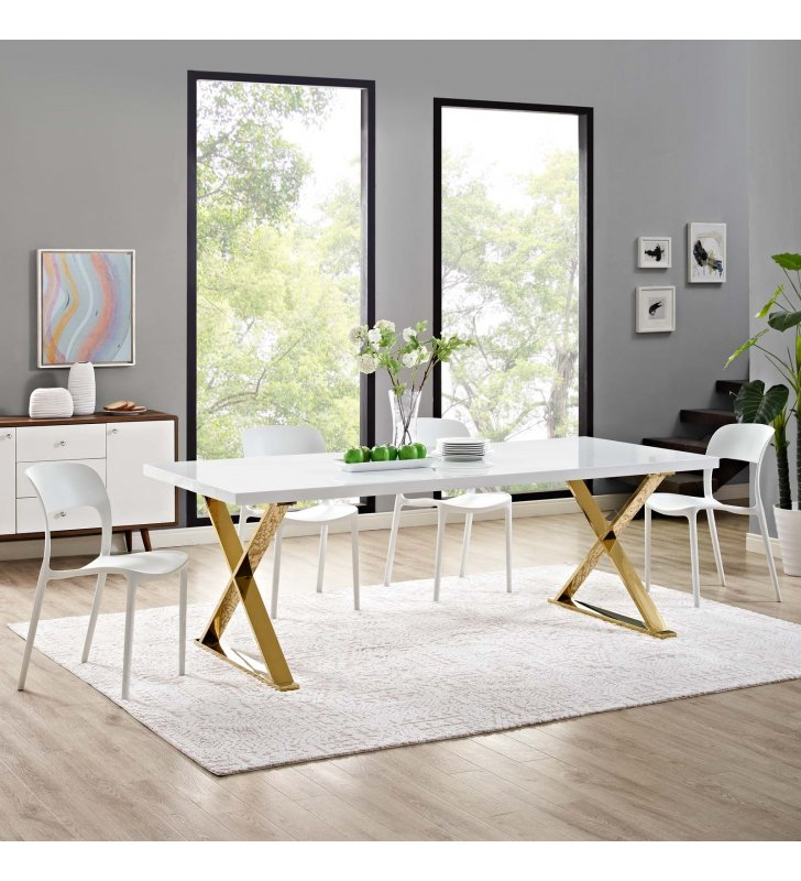Sector Dining Table in White Gold - Lexmod