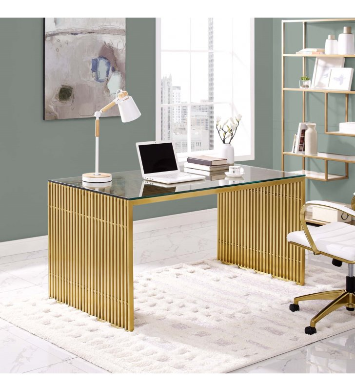 Gridiron Stainless Steel Dining Table in Gold - Lexmod