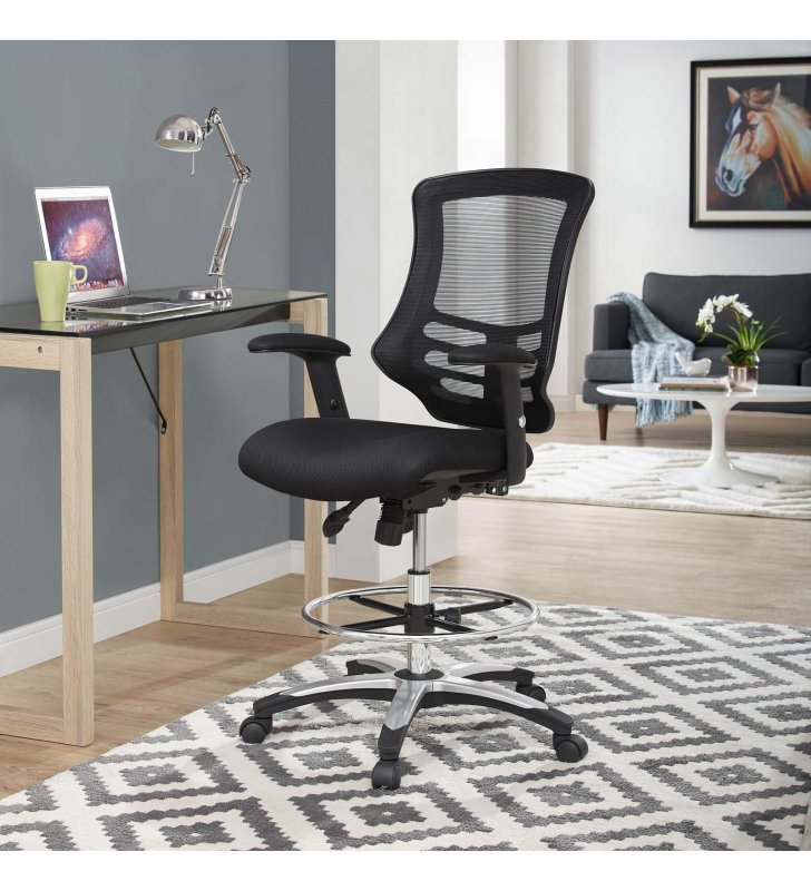 Calibrate Mesh Drafting Chair in Black - Lexmod