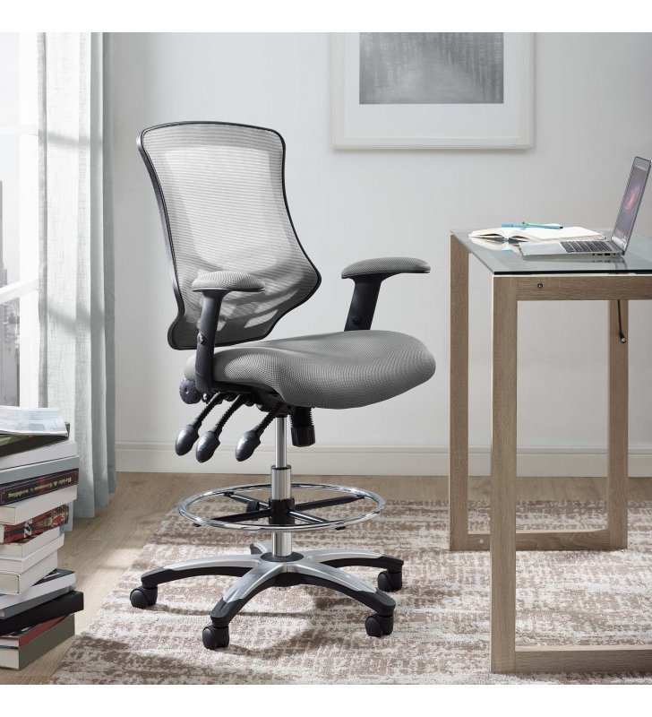 Calibrate Mesh Drafting Chair in Gray - Lexmod