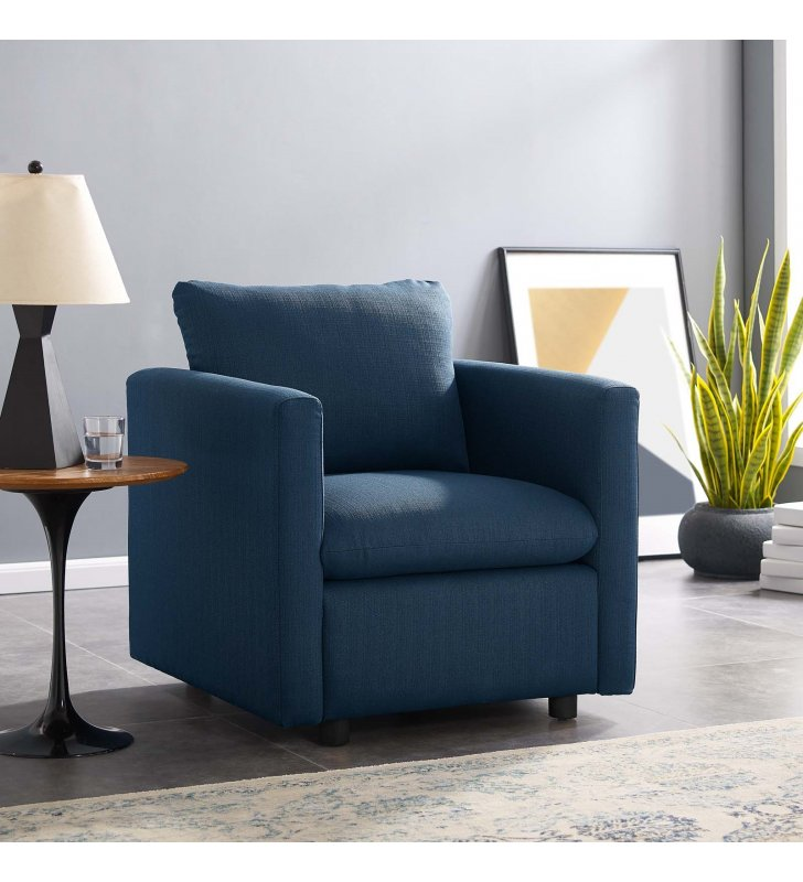 Activate Upholstered Fabric Armchair in Azure - Lexmod