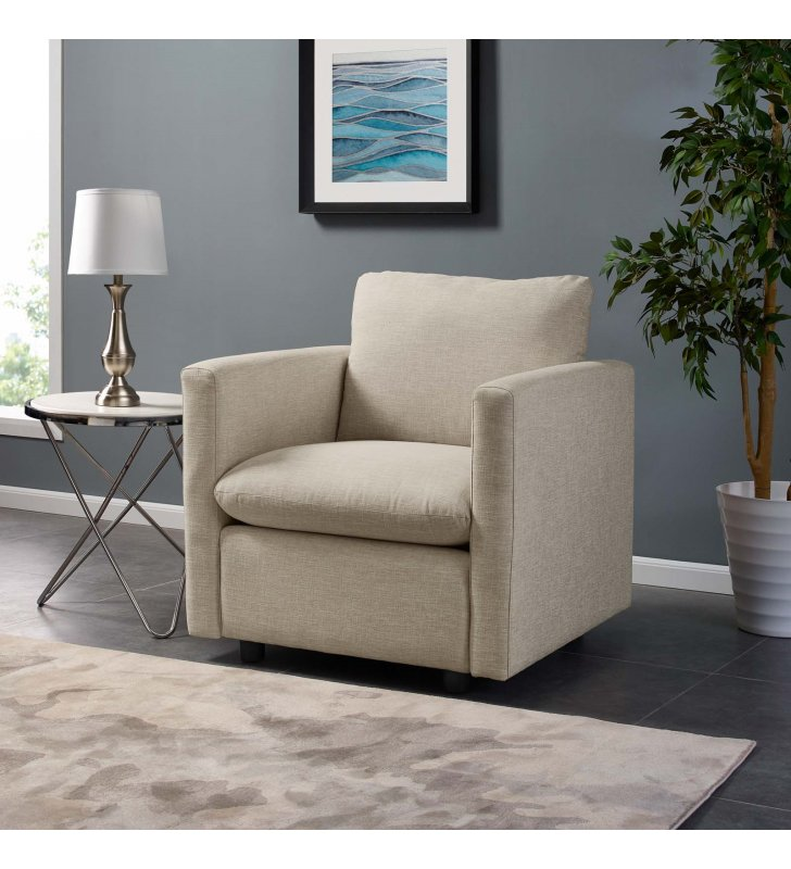 Activate Upholstered Fabric Armchair in Beige - Lexmod