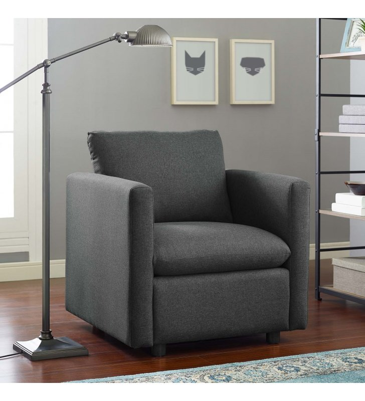 Activate Upholstered Fabric Armchair in Gray - Lexmod