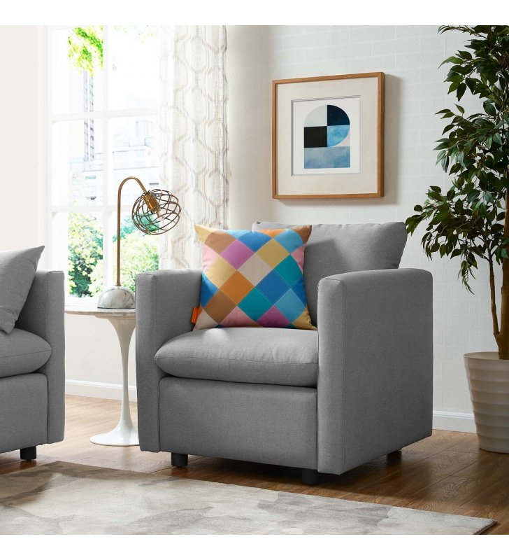 Activate Upholstered Fabric Armchair in Light Gray - Lexmod