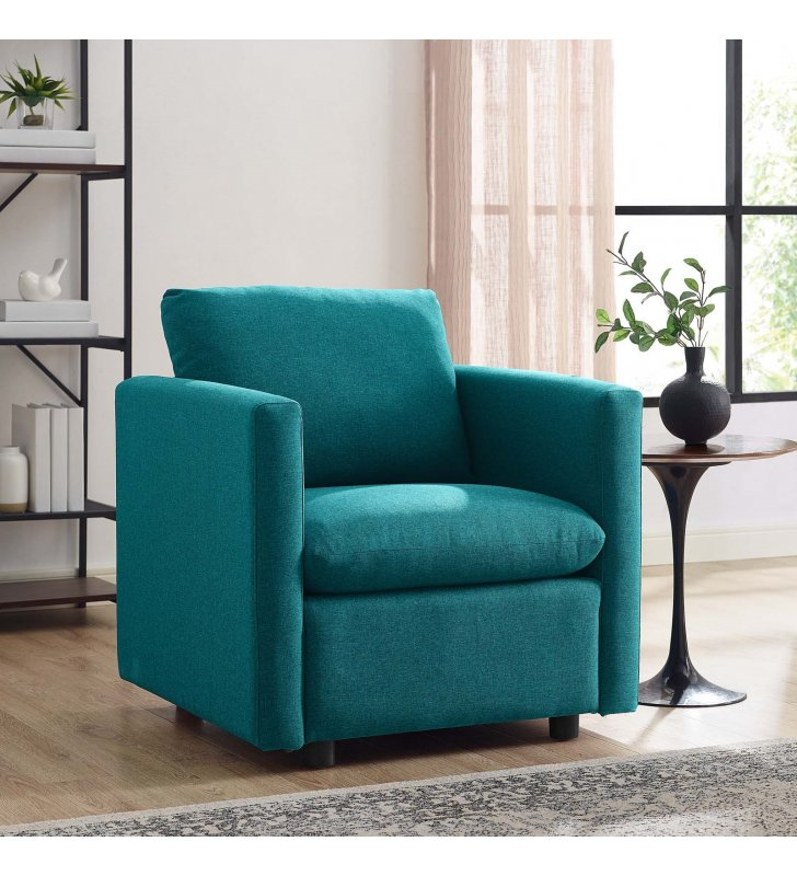 Activate Upholstered Fabric Armchair in Teal - Lexmod