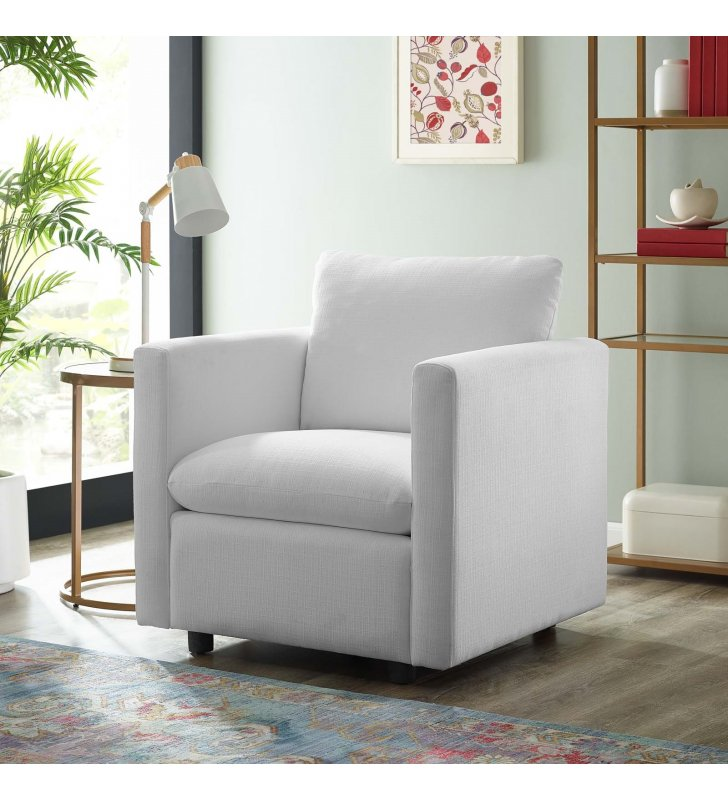 Activate Upholstered Fabric Armchair in White - Lexmod