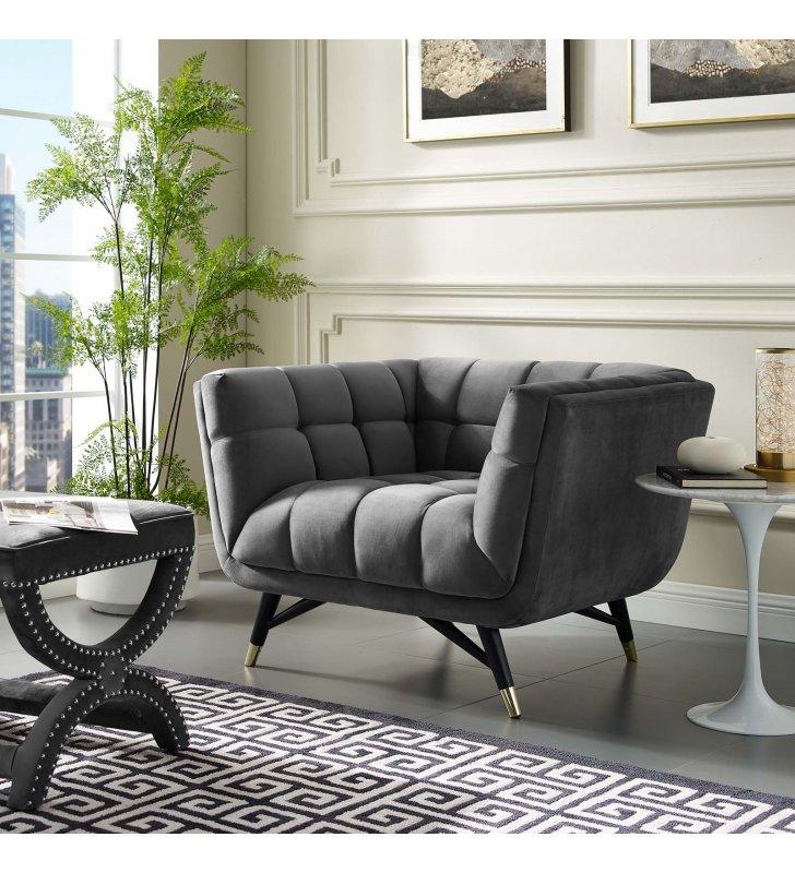 Adept Performance Velvet Armchair in Gray - Lexmod
