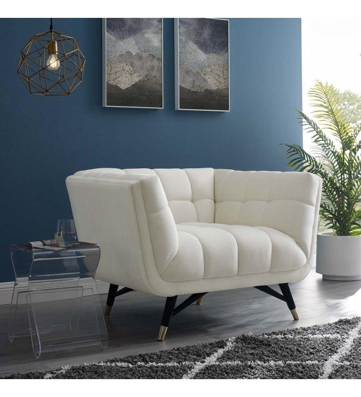 Adept Performance Velvet Armchair in Ivory - Lexmod