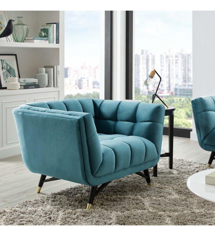 Adept Performance Velvet Armchair in Sea Blue - Lexmod