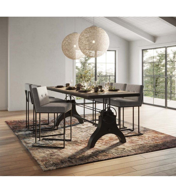 """Genuine 96"""" Crank Height Adjustable Rectangle Dining and Conference Table in Black - Lexmod"""