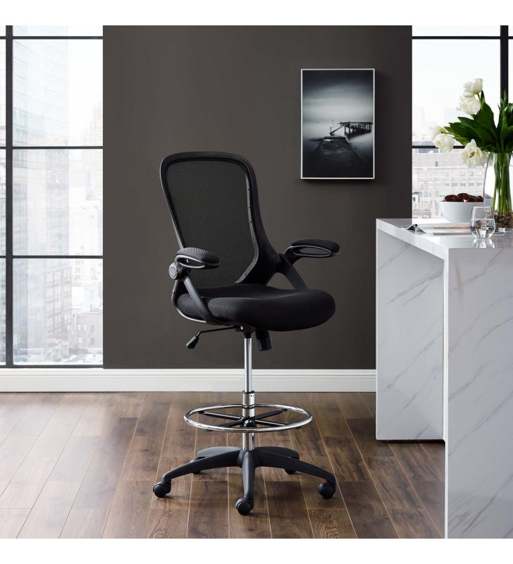 Assert Mesh Drafting Chair in Black - Lexmod