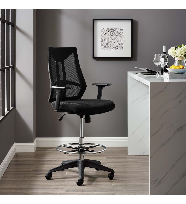 Extol Mesh Drafting Chair in Black - Lexmod