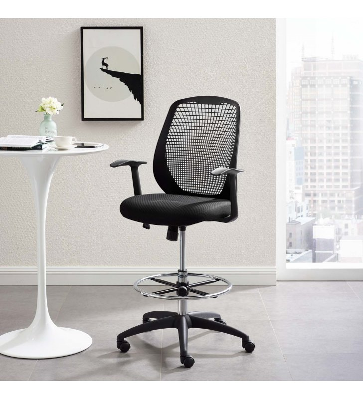 Intrepid Mesh Drafting Chair in Black - Lexmod