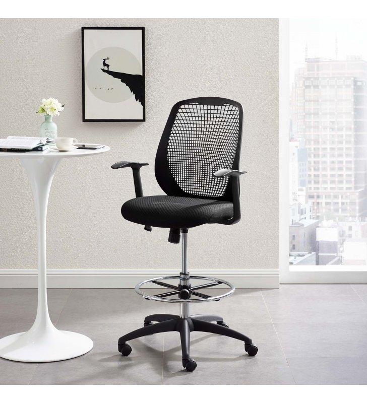 Intrepid Mesh Drafting Chair in Black - Lexmod