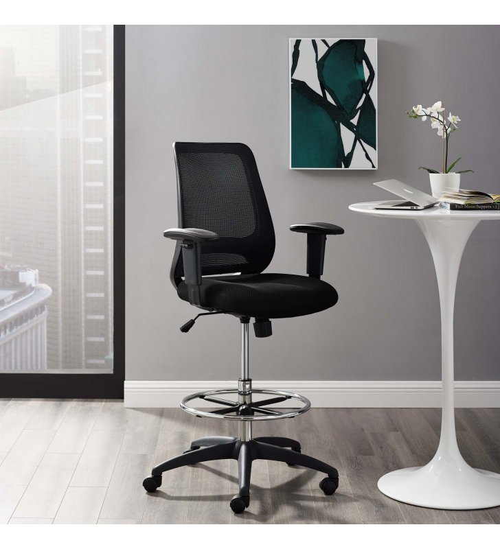 Forge Mesh Drafting Chair in Black - Lexmod