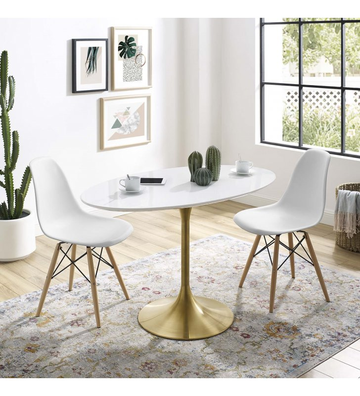 """Lippa 48"""" Oval Wood Dining Table in Gold White - Lexmod"""