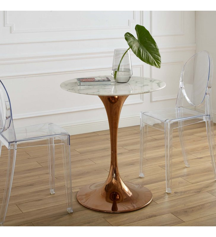 """Lippa 28"""" Round Artificial Marble Dining Table in Rose White - Lexmod"""