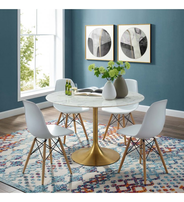 """Lippa 47"""" Round Artificial Marble Dining Table in Gold White - Lexmod"""