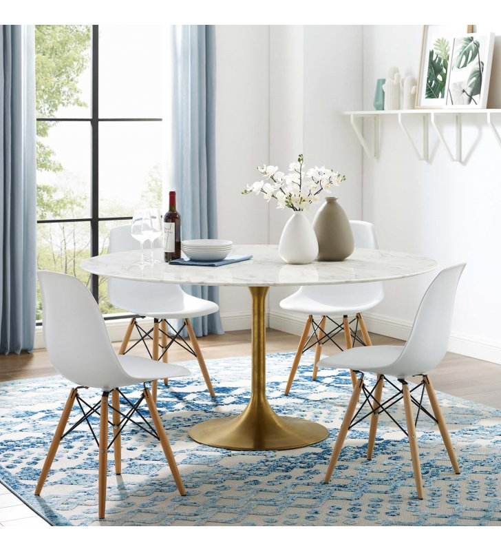 """Lippa 60"""" Round Artificial Marble Dining Table in Gold White - Lexmod"""