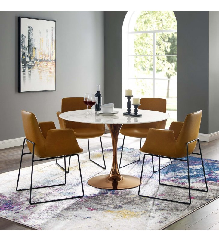 """Lippa 47"""" Round Artificial Marble Dining Table in Rose White - Lexmod"""