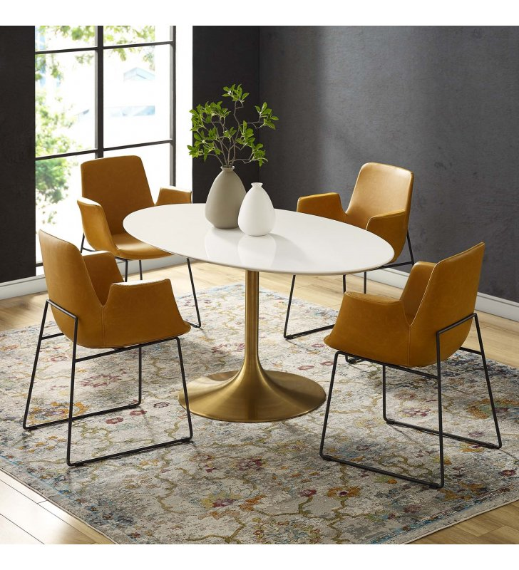 """Lippa 60"""" Oval Wood Dining Table in Gold White - Lexmod"""