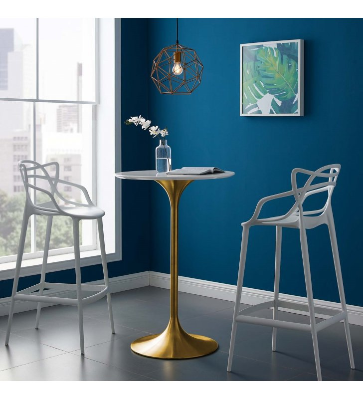 """Lippa 28"""" Wood Top Bar Table in Gold White - Lexmod"""