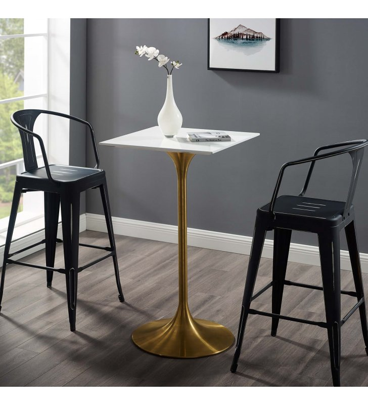 """Lippa 28"""" Square Wood Top Bar Table in Gold White - Lexmod"""