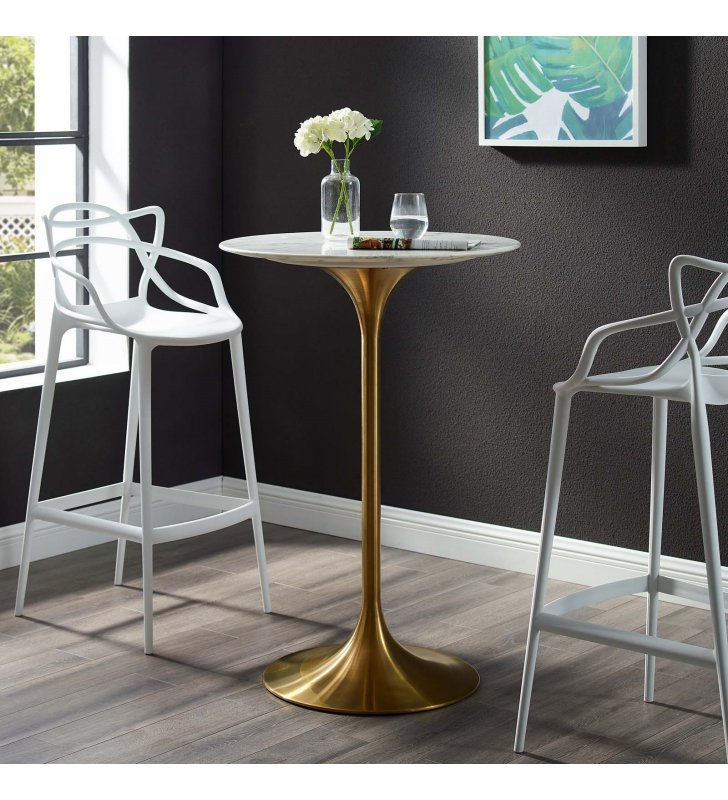 """Lippa 28"""" Artificial Marble Bar Table in Gold White - Lexmod"""