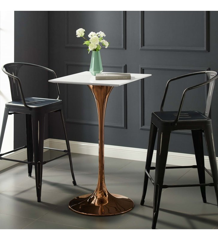 """Lippa 28"""" Square Wood Top Bar Table in Rose White - Lexmod"""