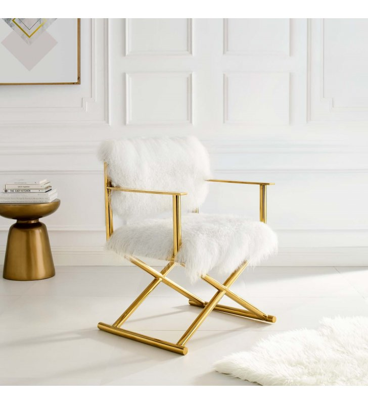 Action Pure White Cashmere Accent Director's Chair in Gold White - Lexmod